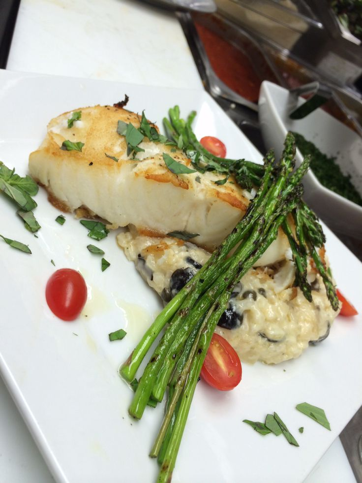 Pan roasted Chilleam Sea Bass, grilled asparagus, black olive caper ...