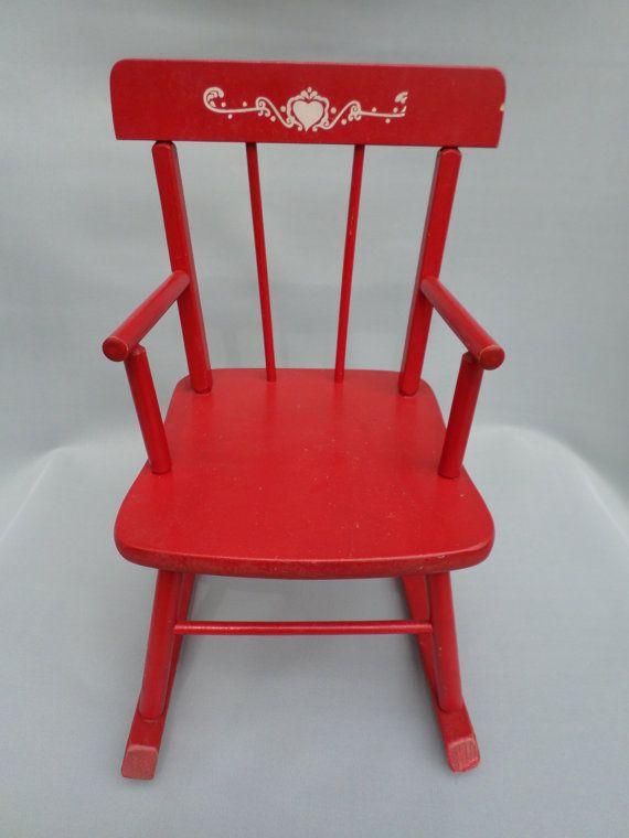 Child Red Rocking Chair ~ Vintage red children s rocking chair