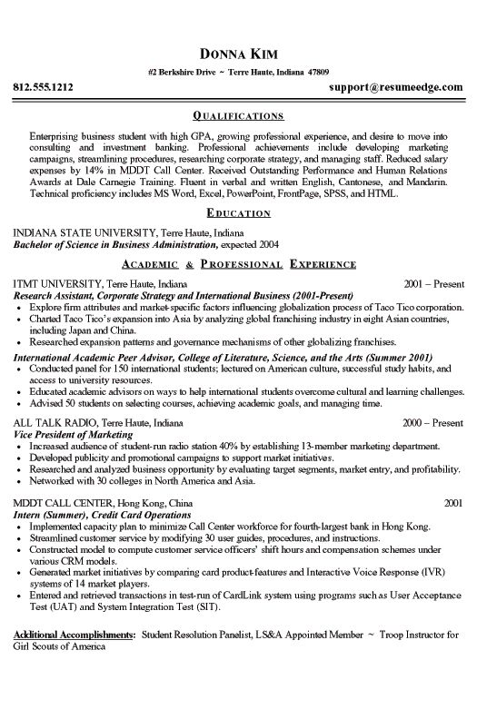 resume format for first year college students