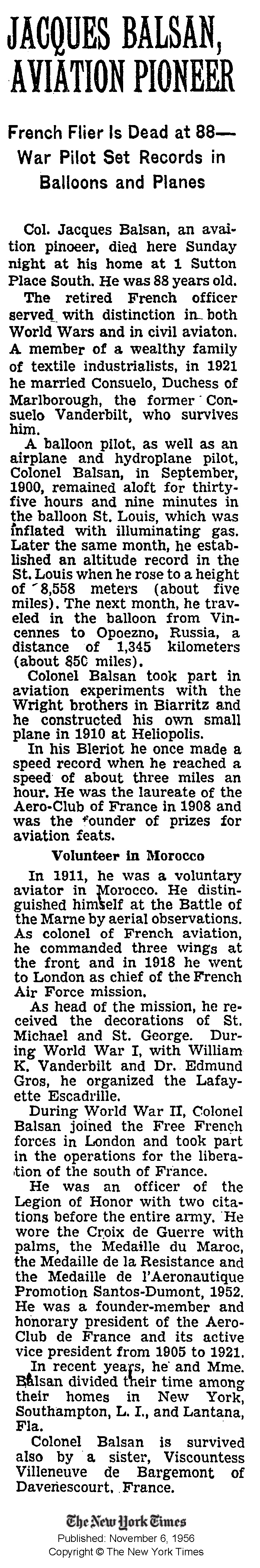 NY Times (6 Nov 1956) 'Jacques Basan, Aviation Pioneer. French Flier