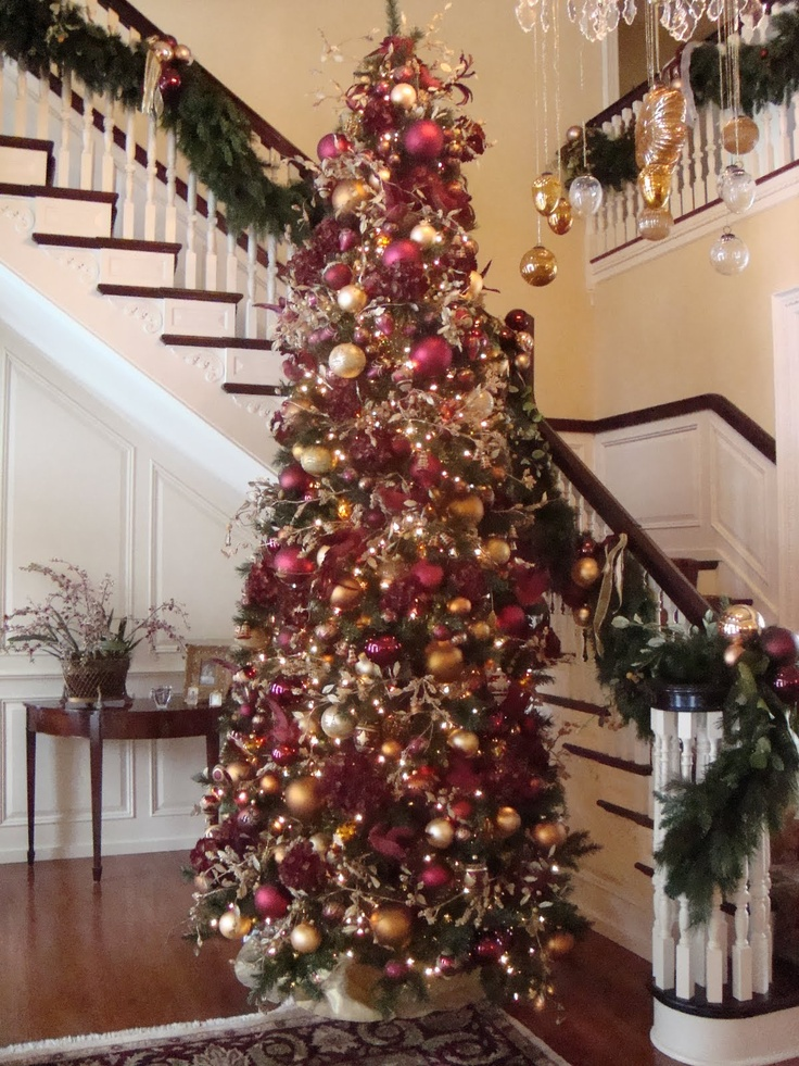 Burgundy and gold christmas centerpiece pictures to pin on