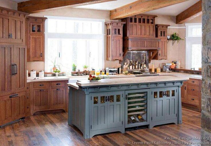 Blue grey island kitchen  Log Homes  Pinterest