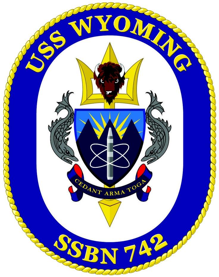 Official logo of uss wyoming ssbn 742 navy pinterest