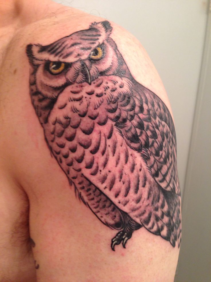 Great Horned Owl Black And Grey Tattoo Great Horned Ow...
