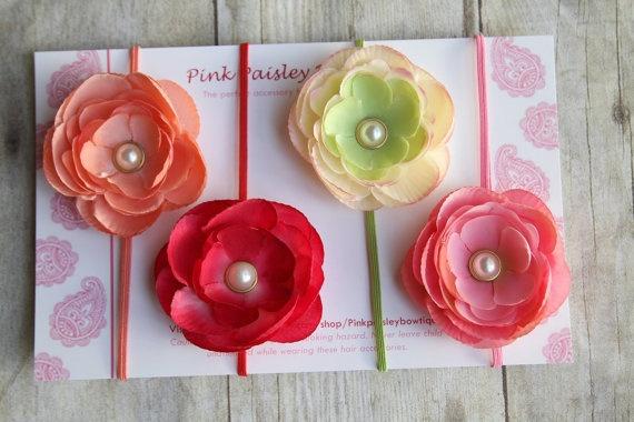 Set of 4 Spring Flowers on Skinny Headbands by Pinkpaisleybowtique, $24.95