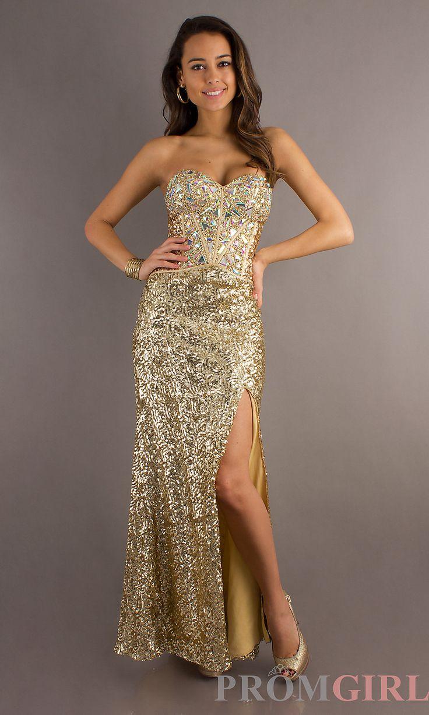 Strapless Gold Prom Dress - Ocodea.com