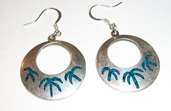 REDUCED EVEN MORE With 5 Photons Vintage Hoop Earrings With Crushed Turquoise Stone Inlay