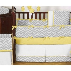 Zig Zag Yellow and Gray 9 Piece Crib Bedding Collection - Gender Neutral Bedding - Bedding | Pokkadots.com