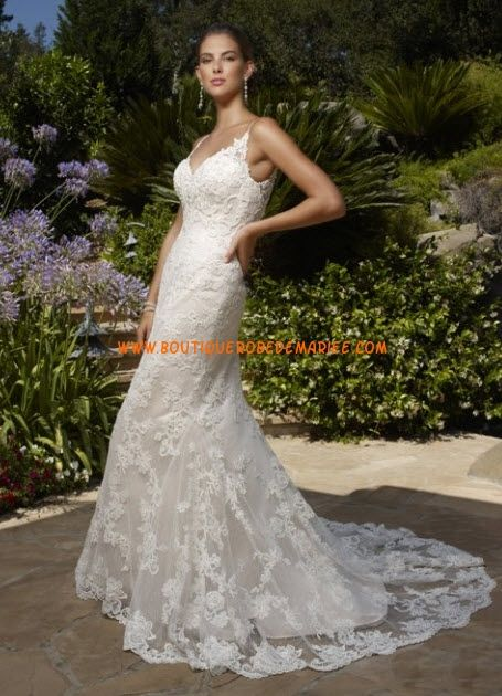 Robe de mariée dentelle sirène col V  Robe de mariée dentelle ...