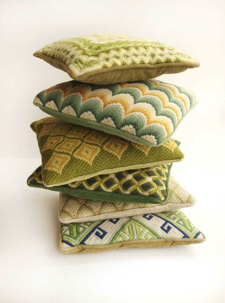 Set of 6 Vintage Bargello/Needlepoint Pillows in Greens
