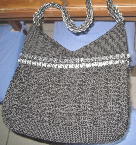 Crochet Bag Strap : ... strap, V-neck design, black crocheted, silver tab bag #crochet #bag #