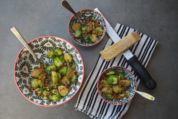 Braised Brussels Sprouts with Pancetta & Parmesan // shutterbean