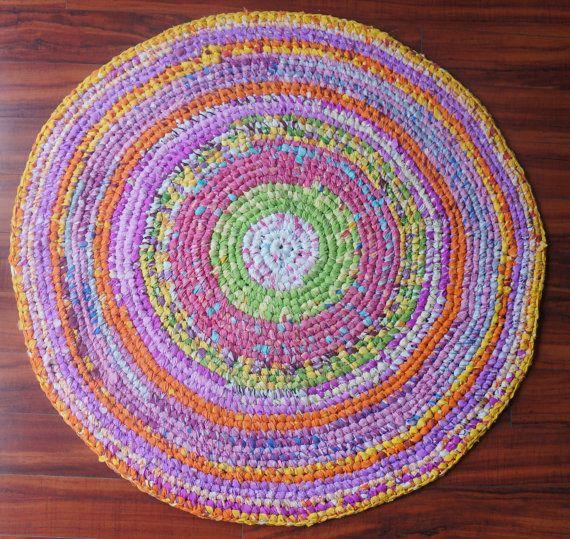 Rag Rug Large: 4 Feet Large Handmade Crochet Rag Rug