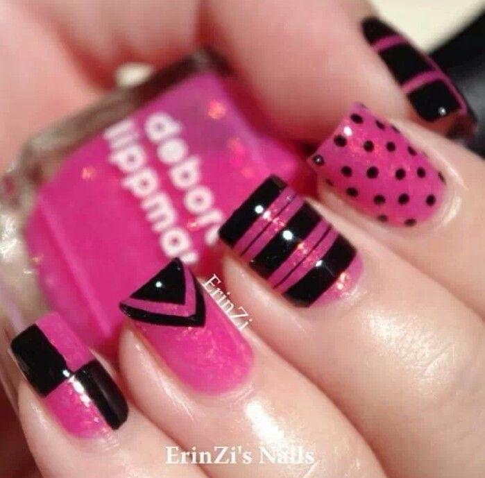 Bright pink and black nail designs pinterest