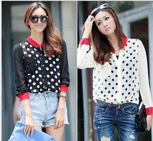 2012 UK Style New Fashion Chiffon Polka Dot Beige Shirt Women Blouse Long Sleeve T Shirt Autumn Free Shipping
