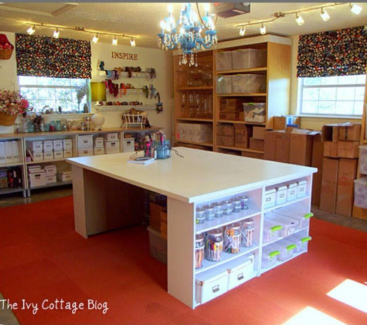 craft table idea add a little height sewing rooms. Black Bedroom Furniture Sets. Home Design Ideas