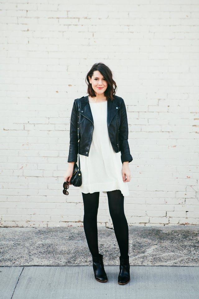 black boots + white dress + leather jacket :: Kendi Everyday