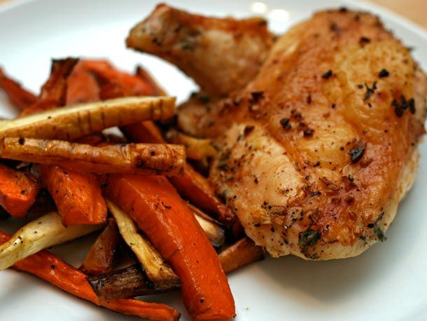 Dinner Tonight: Garlic-Roasted Chicken with Carrots and Parsnips | Re ...