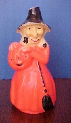 Vintage Gurley Halloween Candle ~ Witch with Pumpkin
