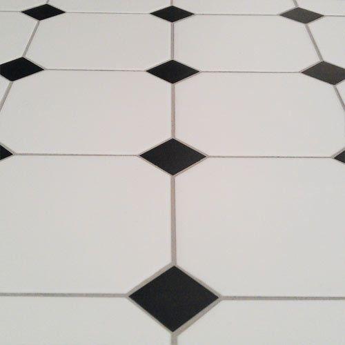 Victorian Octagon Floor Tile With Black Taco