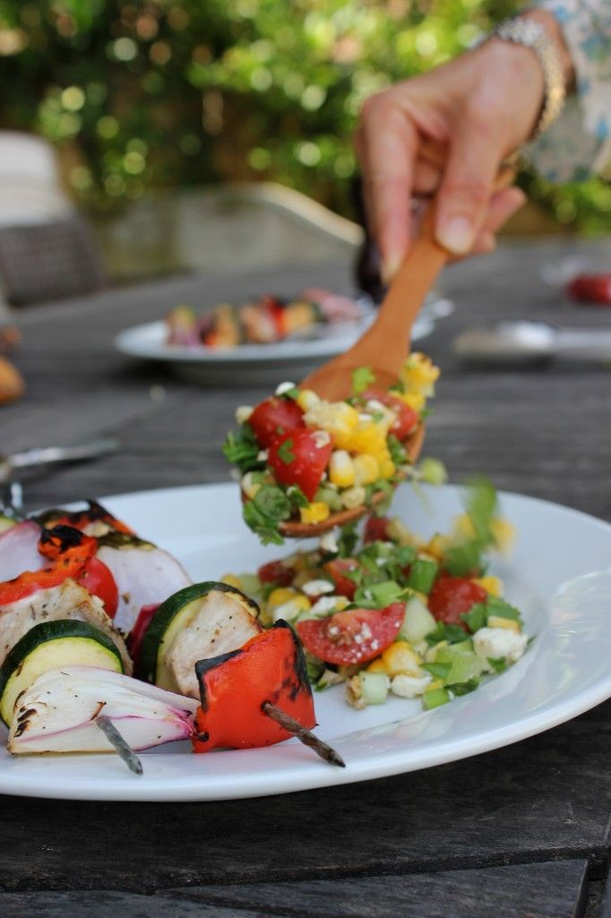 ... Grilled Corn and Feta Salad, and Grilled Peaches with Honey and Yogurt
