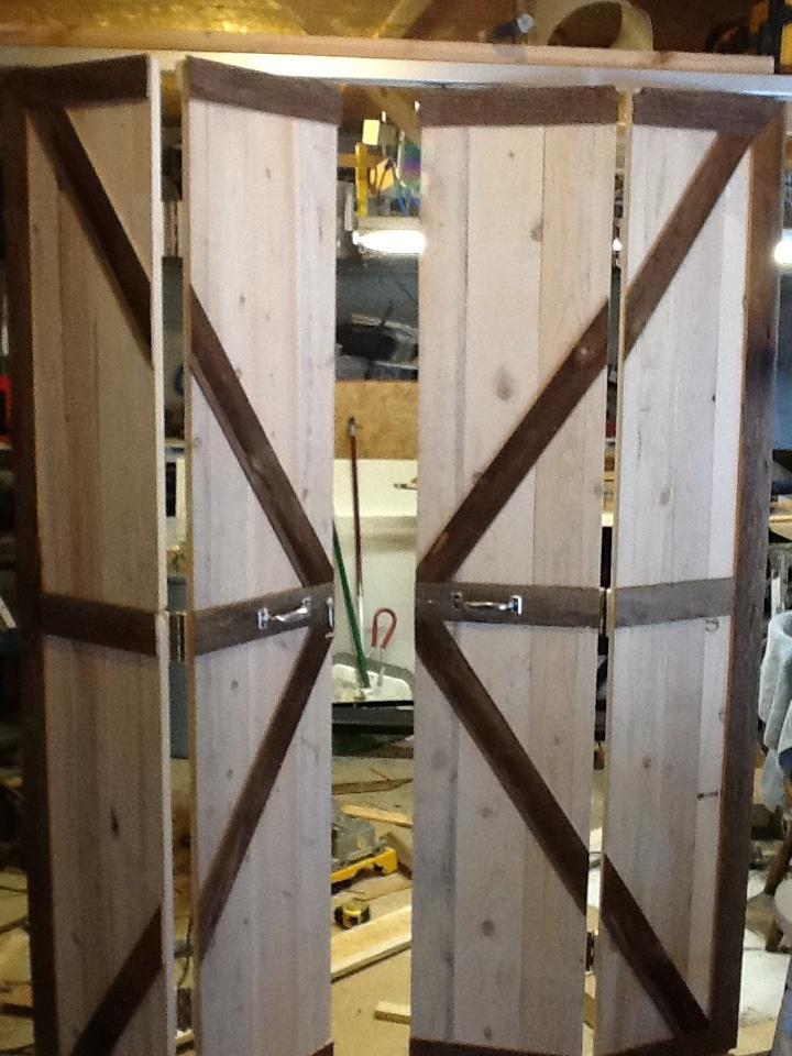 double bi fold barn doors opened barn door decor