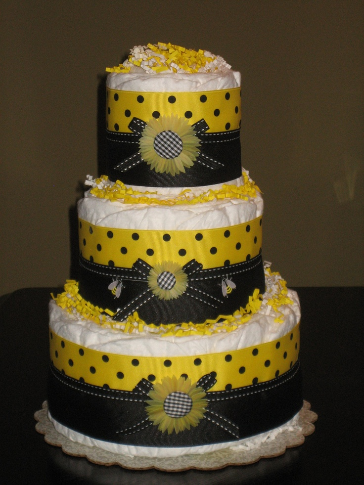bumble bee diaper cake for baby shower centerpiece new baby gift or