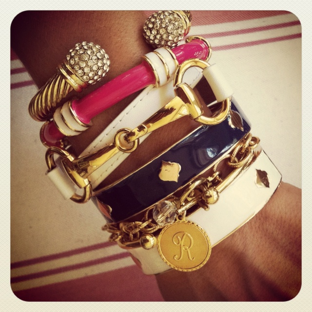 Nautical stack with Regatta & Spade bangles, Nimes cable cuff, white Derby bracelet & Nantucket charm bracelet SwellCaroline.com