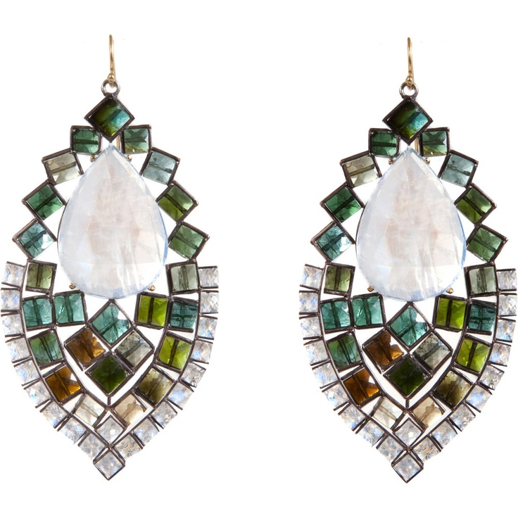 Nak Armstrong Rainbow Moonstone & Mixed Green Tourmaline Earrings siz