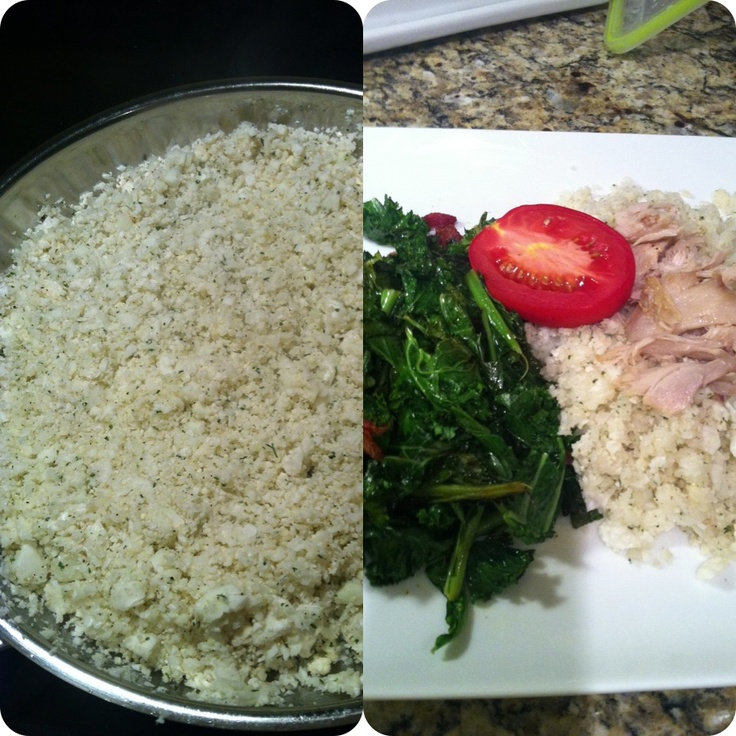 cauliflower rice with sautéed kale and collards with garlic olive ...
