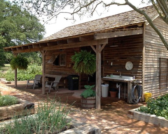 Rustic Backyard Sheds :  Porch Design Using Rustic Furniture Gilchrist Home Potting Shed