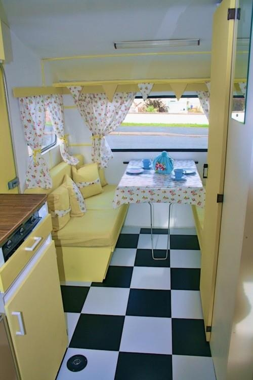 Yellow interior of vintage caravan paranoia pinterest for Design caravan renovation ideas home