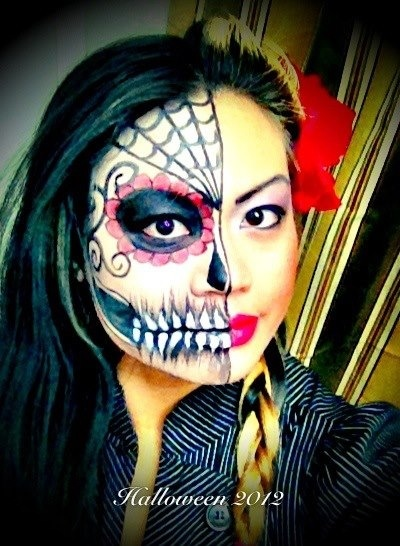 half day of the dead dia de los muertos face paint
