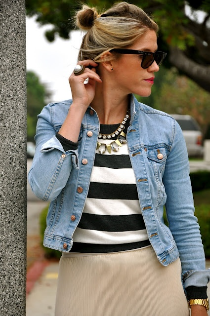 denim jacket, stripes, chunky jewelry