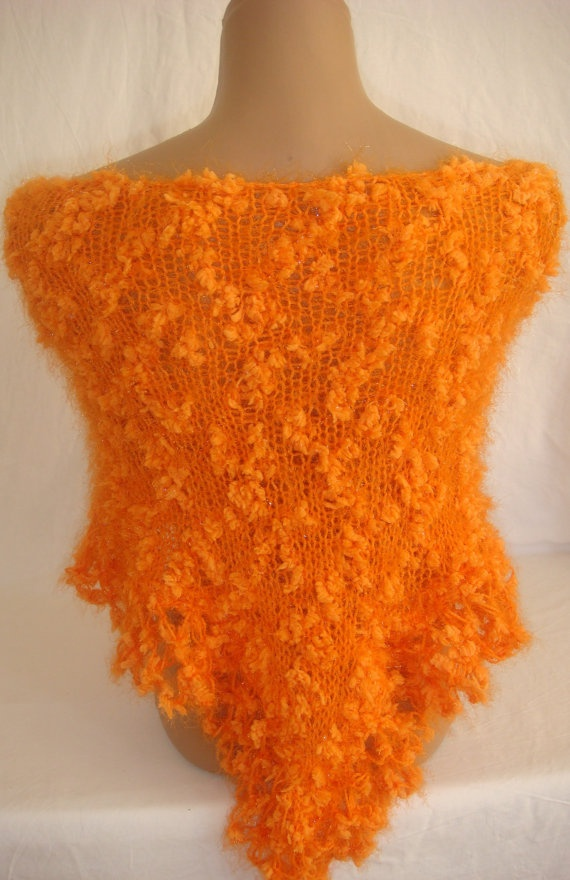 Hand knitted crocheted orange magic shawl by Arzus on Etsy, $59.99