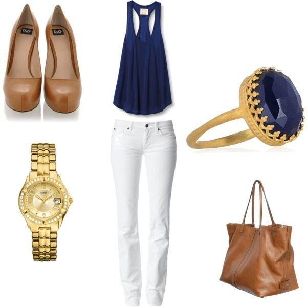 White / Navy / Tan / Gold Outfit