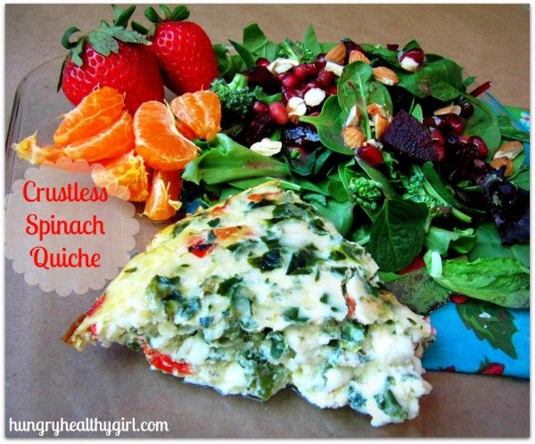 Crustless Spinach Quiche A super easy, low calorie, and gluten-free ...