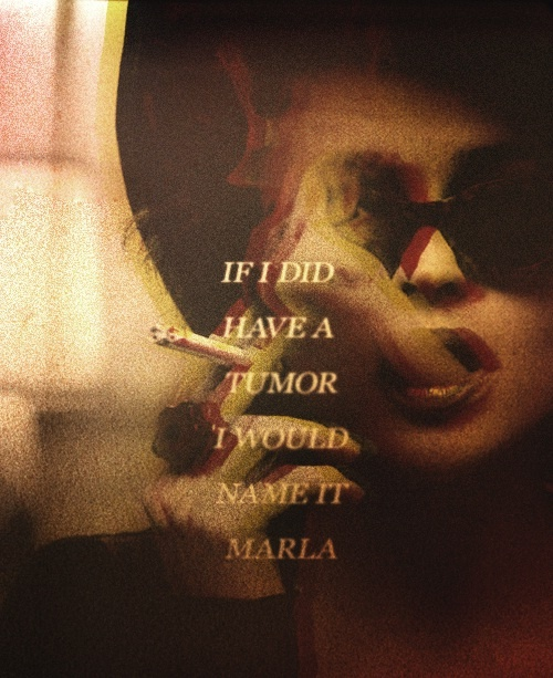 """fight club and marla singer Continued from i am jack's vagina: marla singer of fight club warning: this will probably make no sense unless you read part 1 first, and it will contain """"spoilers"""" for the movie."""