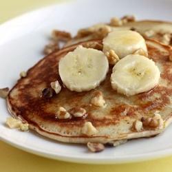 Whole wheat banana nut pancakes (walnuts optional)