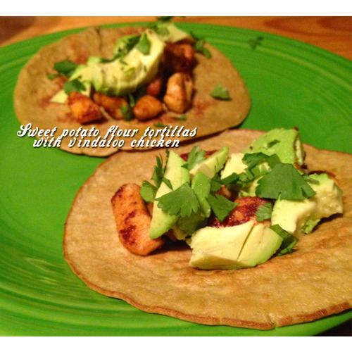Paleo sweet potato flour vindaloo chicken tacos! These things are a ...