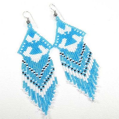 native american seed bead earrings native crafts wholesale skyblue