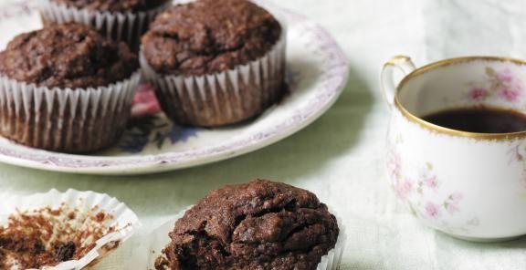 Fudgy Chocolate Banana Flax Muffins. ☀CQ #sweets #treats
