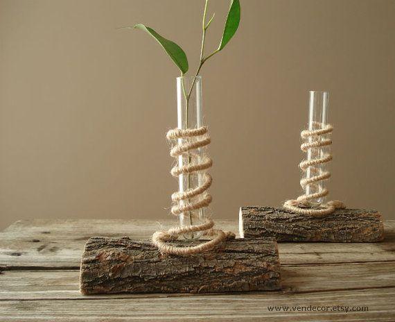 Natural wood bud vases set of test tube vase