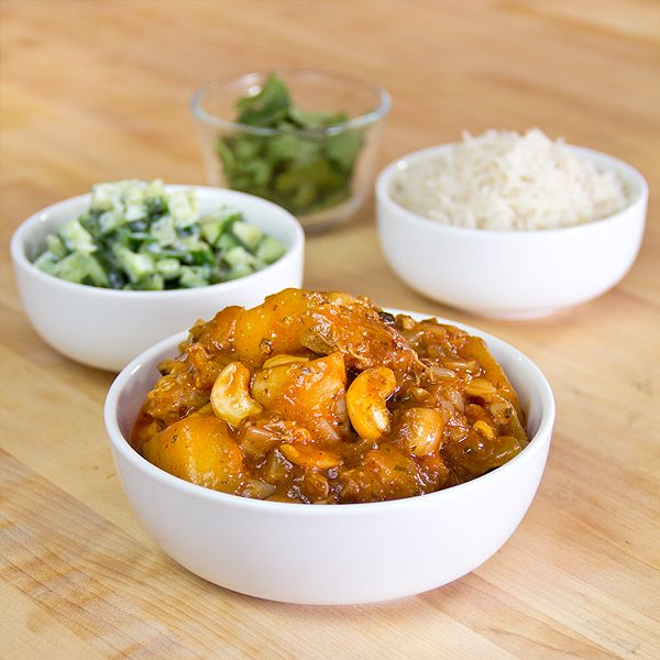 Sweet, Curried Mango Chicken with Basmati Rice & Minted cucumbers in ...