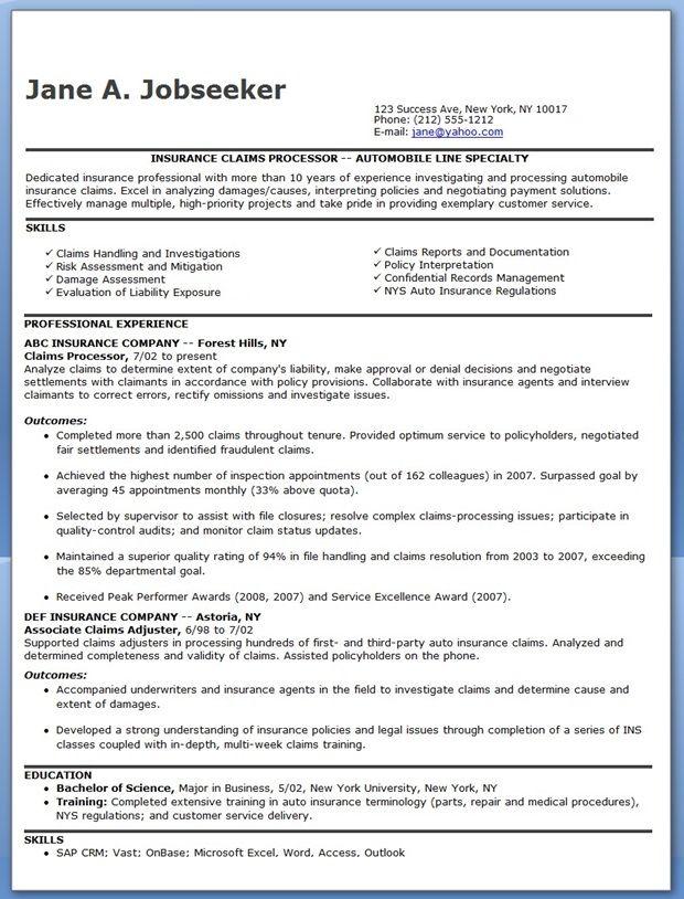 Insurance Claims Handler Resume