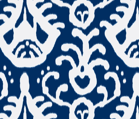 navy ikat fabric by domesticate on Spoonflower - custom fabric