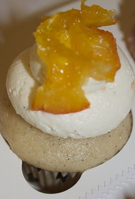 Candied Orange on Orange-Vanilla Bean Cupcakes. | Battycakes Cupcakes ...