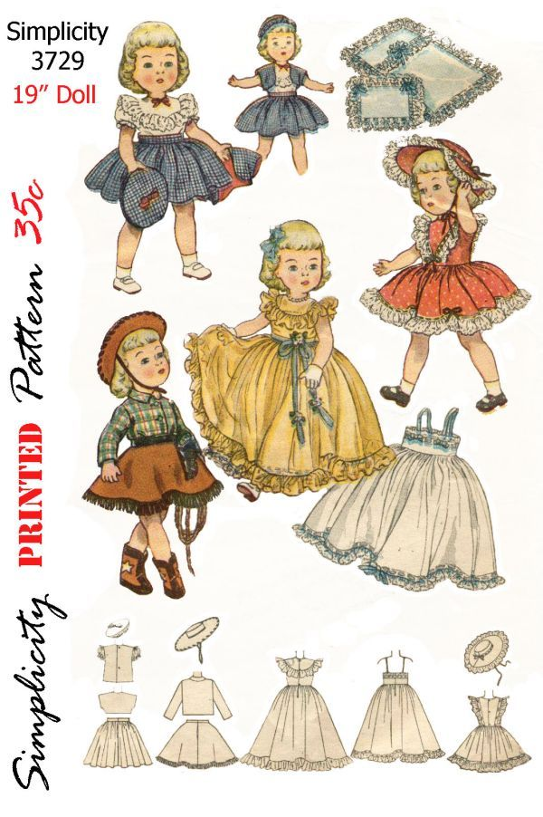Simplicity 3729, for 19 inch doll, cowboy outfit, bolero, suit, dress