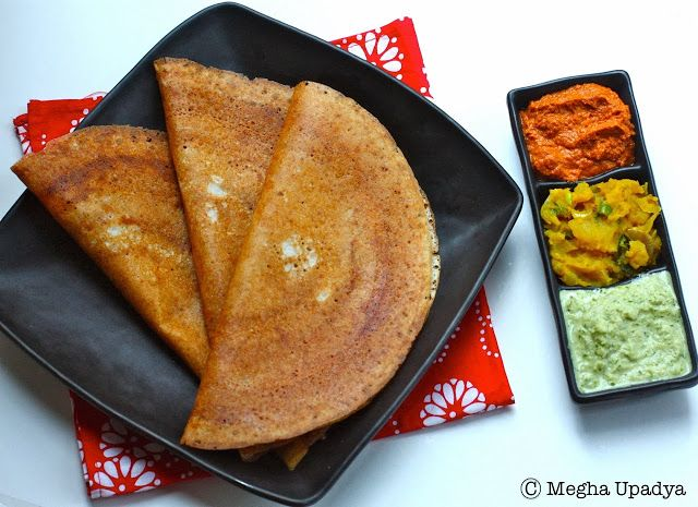 Mysore Masala Dosa - Rice and lentil crepes smeared with a spicy red ...