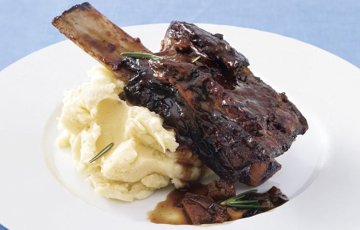 Zinfandel-Braised Beef Short Ribs with Rosemary-Parsnip Mashed Potato ...